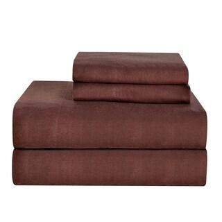 Celeste Home Ultra Soft Solid Brown Flannel Sheet Set