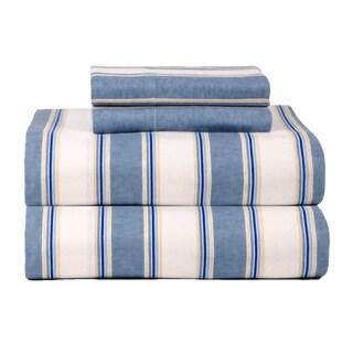 Havenside Home South Ponto Ultra Soft Blue Stripe Flannel Sheet Set
