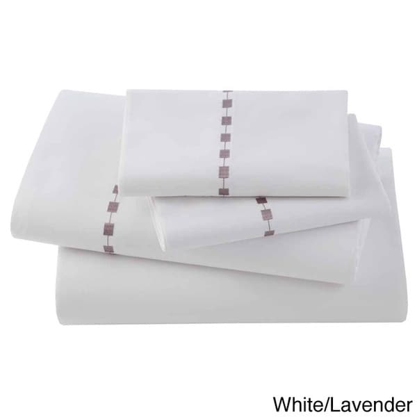 Ombre Box Embroidered Egyptian Cotton Collection 300 Thread Count Sheet Set
