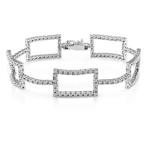 Miadora 14k Gold 2ct TDW Geometric Diamond Link Bracelet