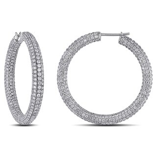Miadora Signature Collection 18k Gold 8 2/5ct TDW Pave Diamond Hoop Earrings (G-H, SI1-SI2)
