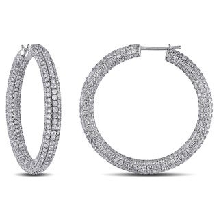 Miadora Signature Collection 18k Gold 8 2/5ct TDW Pave Diamond Hoop Earrings