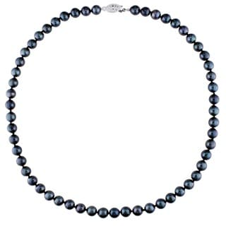 Miadora Sterling Silver Black Cultured Freshwater Pearl Necklace (7-7.5 mm)