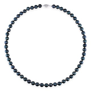 Miadora 14k White Gold Black Cultured Freshwater Pearl Necklace (7-7.5 mm)