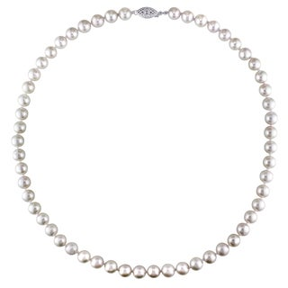 Miadora Sterling Silver Cultured Freshwater Pearl Strand Necklace (7 - 7.5 mm)