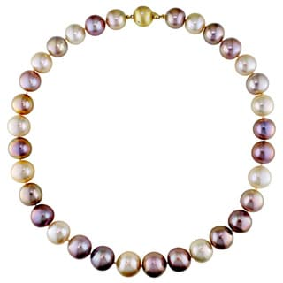 Miadora Signature Collection 14k Yellow Gold Cultured Pearl and Diamond Necklace (12-15 mm)