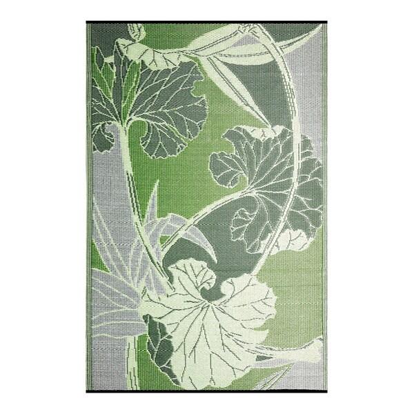B Begonia Blossom Outdoor Rv Camping Green Grey Reversible Patio Mat 8