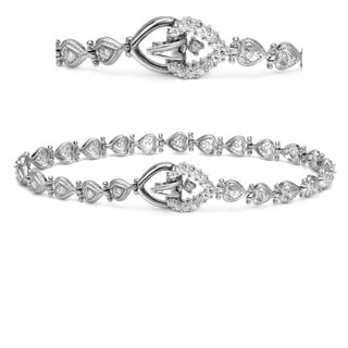 Auriya 14k White Gold 3/4ct TDW Heart Design Diamond Bracelet