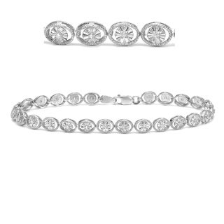 14k White Gold 1/4ct TDW Open Circle Illusion Set Diamond Bracelet