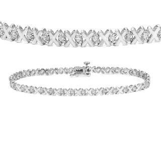 14k Gold 1/5ct TDW XOXO Diamond Tennis Bracelet