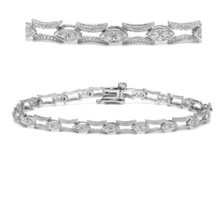 Auriya 14k White Gold 2/5ct TDW Open Design Diamond Link Bracelet