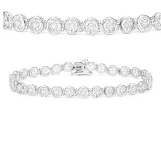 Auriya 14k White Gold 1/3ct TDW Circle Design Diamond Tennis Bracelet