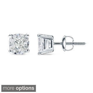 Auriya 1/2ct TDW Cushion Cut Diamond Stud Earrings (H-I, SI1-SI2)