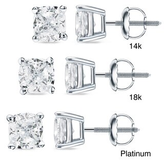 Auriya 14k/18k Gold or Platinum 3/4ct TDW Cushion Cut Diamond Earrings (H-I, SI1-SI2)