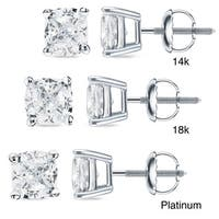 Auriya 14k/18k Gold or Platinum 3/4ct TDW Cushion Cut Diamond Earrings