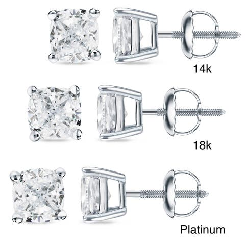 Auriya 3/4ctw Cushion-cut Diamond Stud Earrings 14k 18k or Platinum