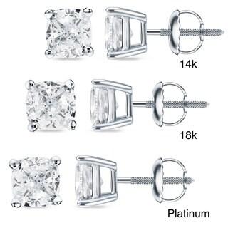Auriya 14k/18k Gold or Platinum 3/4ct TDW Cushion-Cut Diamond Stud Earrings