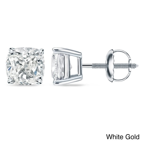 c401ded15 Auriya 18k/14k Gold or Platinum 1ct TDW Certified Cushion Cut Diamond Stud  Earrings