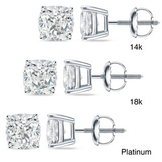 Auriya 18k/14k Gold or Platinum 1ct TDW Certified Cushion Cut Diamond Earrings