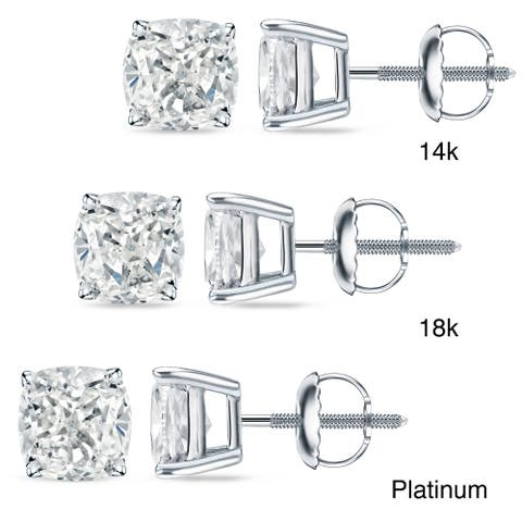 Auriya 1ctw Cushion-cut Diamond Stud Earrings 14k 18k or Platinum