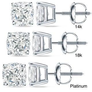 Auriya 14k/18k Gold or Platinum 2 ct TDW Certified Cushion Cut Diamond Earrings