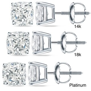 Auriya 14k/18k Gold or Platinum 2 ct TDW Certified Cushion Cut Diamond Earrings