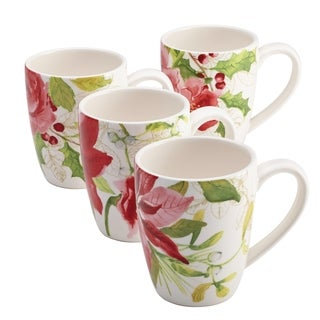 Paula Deen Signature Dinnerware Holiday Floral 4-piece Mug Set