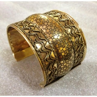 Handmade Brass Tri Tier Cuff Bracelet (India)