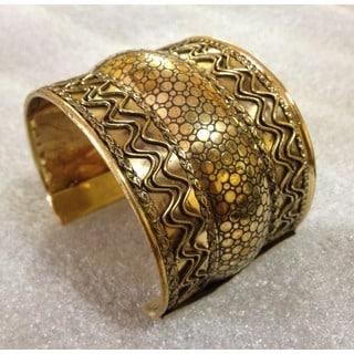 Handmade Brass Tri Tier Cuff Bracelet (India)