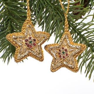 Set of Two Handmade Beaded Mini Gold Stars Ornament (India)
