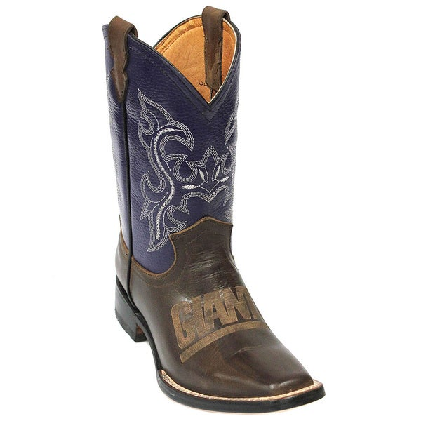 Kids New York Giants Western Leather Boots