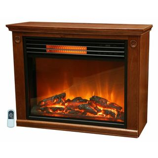 Lifesmart Infrared Fireplace with All Wood Mantle and Remote (Large Room)