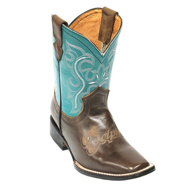 Kids Miami Dolphins Leather Western Boots