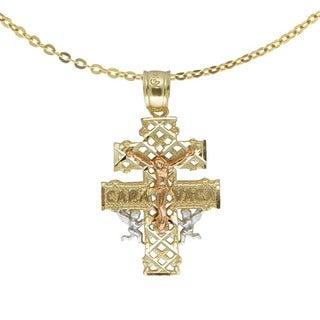14k Tricolor Cross of Caravaca Pendant
