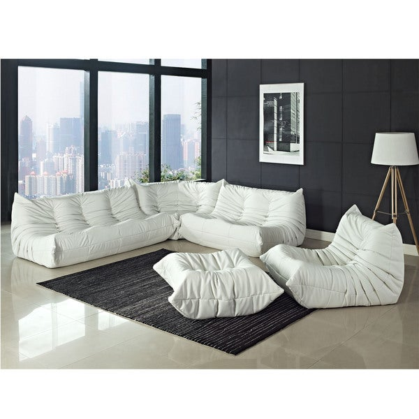 White Vinyl Waverunner Sofa Set