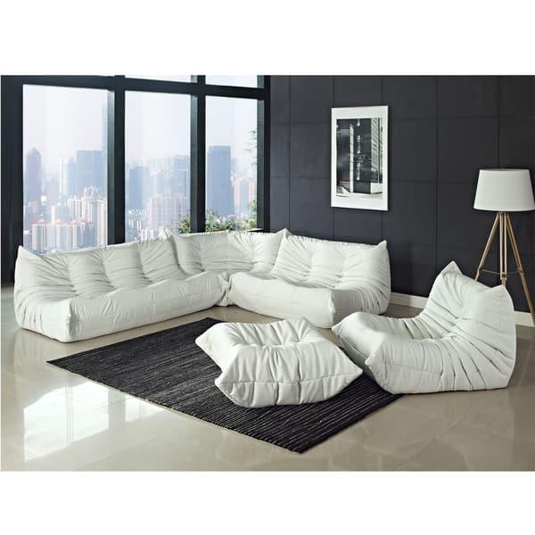 White Vinyl Waverunner Sofa Set Free Shipping Today