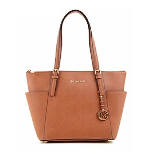 Michael Kors Jet Set Medium Luggage Brown Pocketed Top Zip Tote Bag