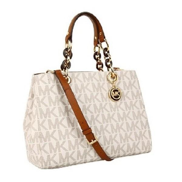 Michael Kors Cynthia Medium Vanilla Logo Satchel Handbag