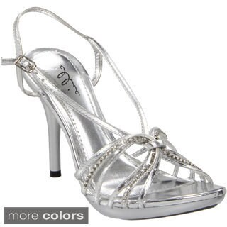 Ellie Women's '431-Knot' Stiletto Rhinestone Heels