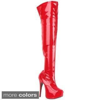 Bordello 'Teeze-3000' Women's Stiletto Heel Hidden Platform Stretch Thigh High Boots