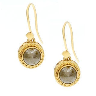 Neda Behnam 22k Yellow Gold 2 7/8ct TDW Rough Green Diamond Earrings