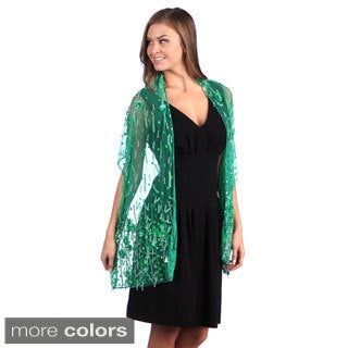 Selection Privee Paris Evening Dressy Green Beaded Silk Sheer Shawl Wrap