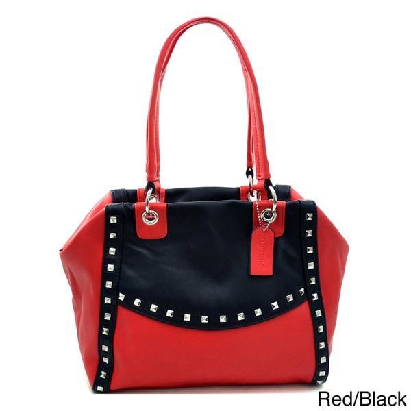 Dasein Petite Pyramid Studded Two-Tone Shoulder Bag