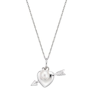 Pearlyta Sterling Silver Cultured Pearl Heart Arrow Charm Necklace (5-6 mm)