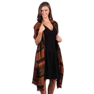 Selection Privee Paris Pauline Brown Striped Wool Shawl Wrap