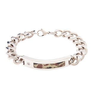 Stainless Steel .025ct TDW Diamond Accent Camo ID Bracelet