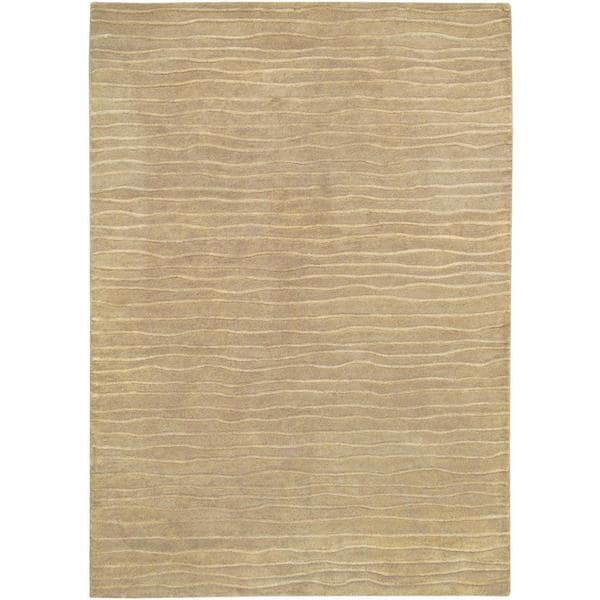 Hand-Crafted Solid Color Vinyasa Halcyon Taupe Brown Rug (3'6 x 5'6)
