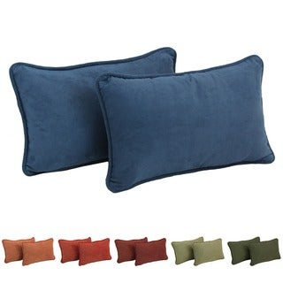 Blazing Needles 20-inch Microsuede Lumbar Throw Pillow (Set of 2)