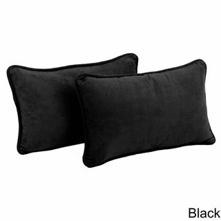 Copper Grove Ashley Rectangular Microsuede Back Support Throw Pillows (Set of 2) (Black)