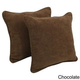 Blazing Needles Neutral 18-inch Square Microsuede Throw Pillows (Set of 2)